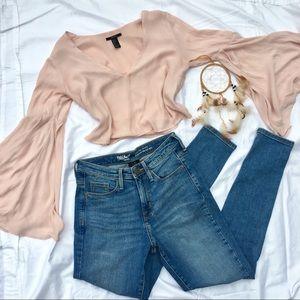 Long sleeve pink flow top